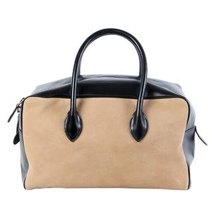 Alaia Tan Suede Black Leather Doctor's Bag